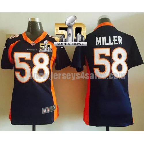Women's Denver Broncos #58 Von Miller Navy Blue Stitched Super Bowl 50 Nike NFL Alternate Elite Jersey