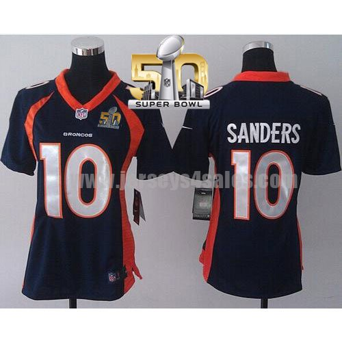 Women's Denver Broncos #10 Emmanuel Sanders Navy Blue Stitched Super Bowl 50 Nike NFL Alternate Elite Jersey
