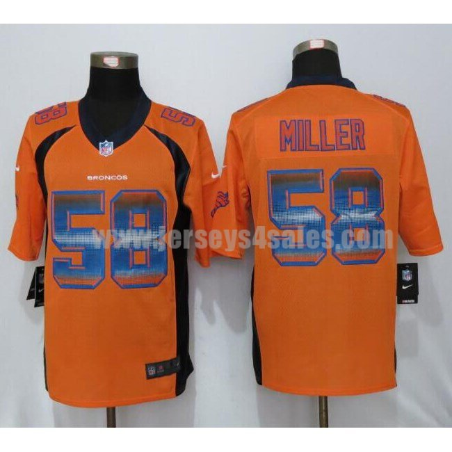 Men's Denver Broncos #58 Von Miller Orange Stitched Nike NFL Strobe Limited Jersey