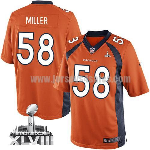 Nike Broncos #58 Von Miller Orange Team Color Super Bowl XLVIII Men's Stitched NFL New Limited Jersey
