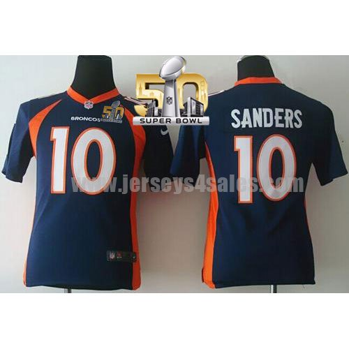 Youth Denver Broncos #10 Emmanuel Sanders Navy Blue Stitched Super Bowl 50 Nike NFL Alternate Elite Jersey