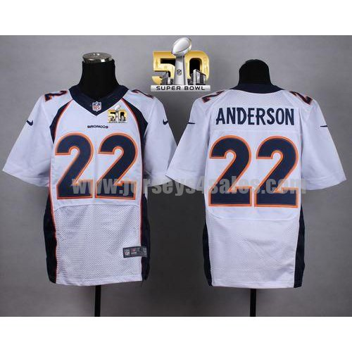 Men's Denver Broncos #22 C.J. Anderson White Stitched Super Bowl 50 Nike NFL Road Elite Jersey