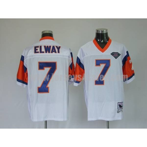 Mitchel & Ness Broncos #7 John Elway White With 75 Anniversary Patch Stitched Throwback NFL Jersey