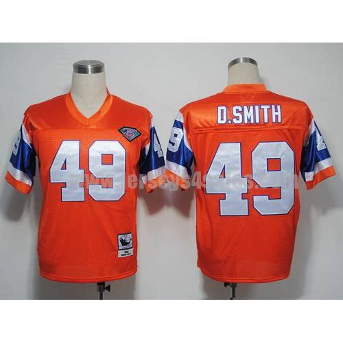 Mitchel and Ness Broncos #49 Dennis Smith Orange With 75 Anniversary Patch Stitched Throwback NFL Jersey