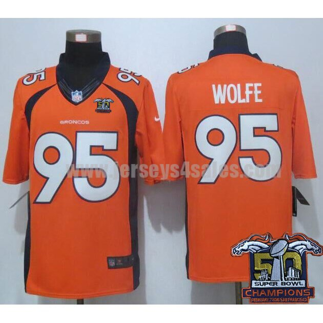 Men's Denver Broncos #95 Derek Wolfe Super Bowl 50 Champions Orange Stitched Nike NFL Home Limited Jersey