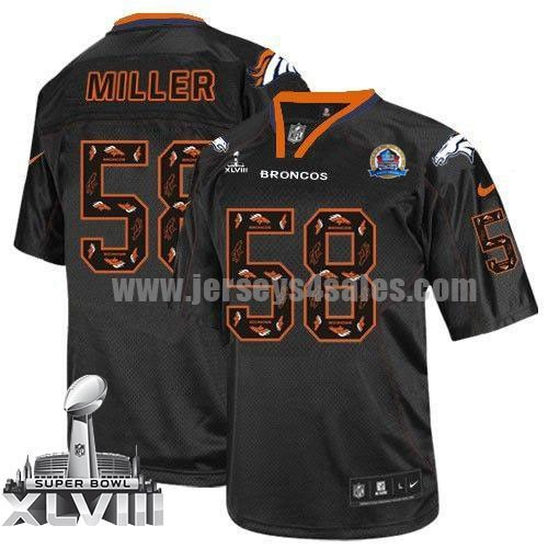 Nike Broncos #58 Von Miller New Lights Out Black With Hall of Fame 50th Patch Super Bowl XLVIII Men's Stitched NFL Elite Jersey