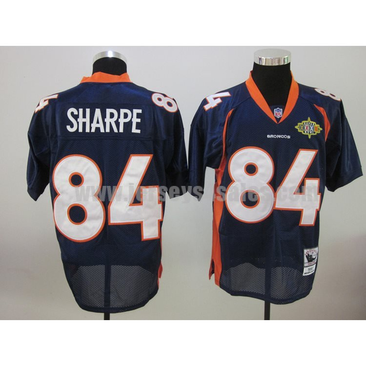 Mitchell & Ness Broncos #84 Shannon Sharpe Blue With Super Bowl Patch Stitched NFL Jersey