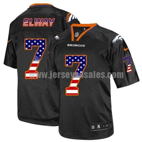Nike Broncos #7 John Elway Black Men's Stitched NFL Elite USA Flag Fashion Jersey