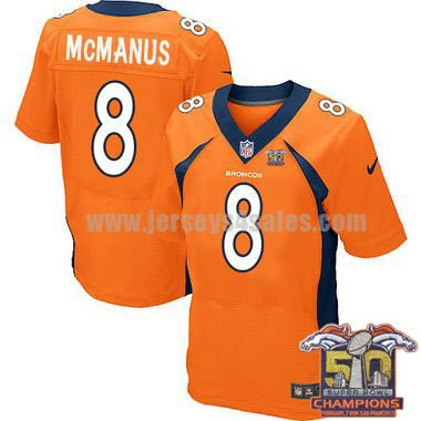 Men's Denver Broncos #8 Brandon McManus Super Bowl 50 Champion Orange Stitched Nike NFL Home Jersey