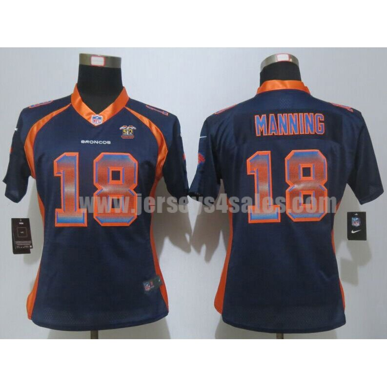 Women's Denver Broncos #18 Peyton Manning Super Bowl 50 Champions Navy Blue Alternate Stitched Strobe Nike NFL Elite Jersey