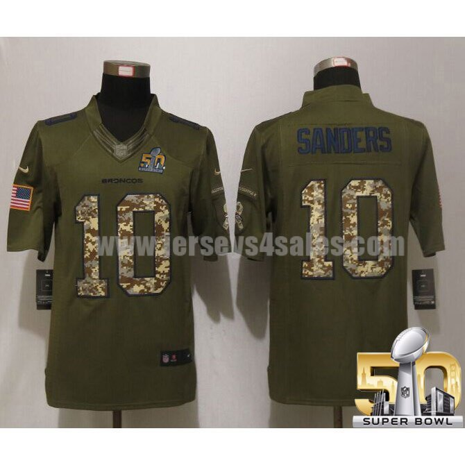 Men's Denver Broncos #10 Emmanuel Sanders Green Stitched Super Bowl 50 Nike NFL Salute To Service Limited Jersey