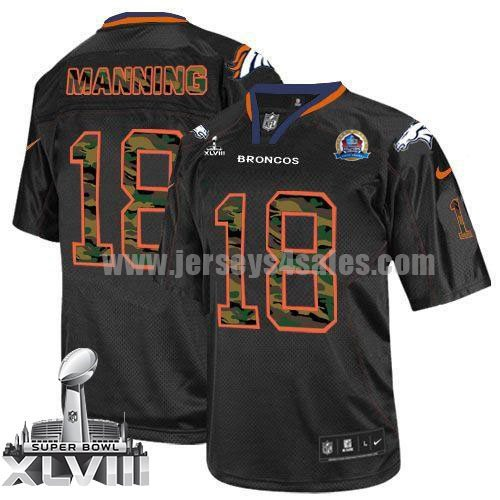 Nike Broncos #18 Peyton Manning Black With Hall of Fame 50th Patch Super Bowl XLVIII Men's Stitched NFL Elite Camo Fashion Jersey