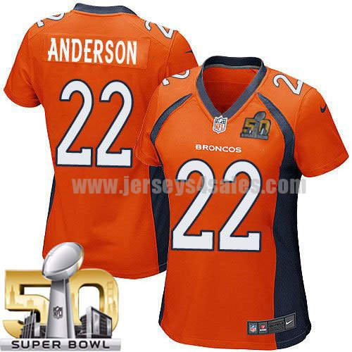 Women's Denver Broncos #22 C.J. Anderson Orange Stitched Super Bowl 50 Nike NFL Home Elite Jersey