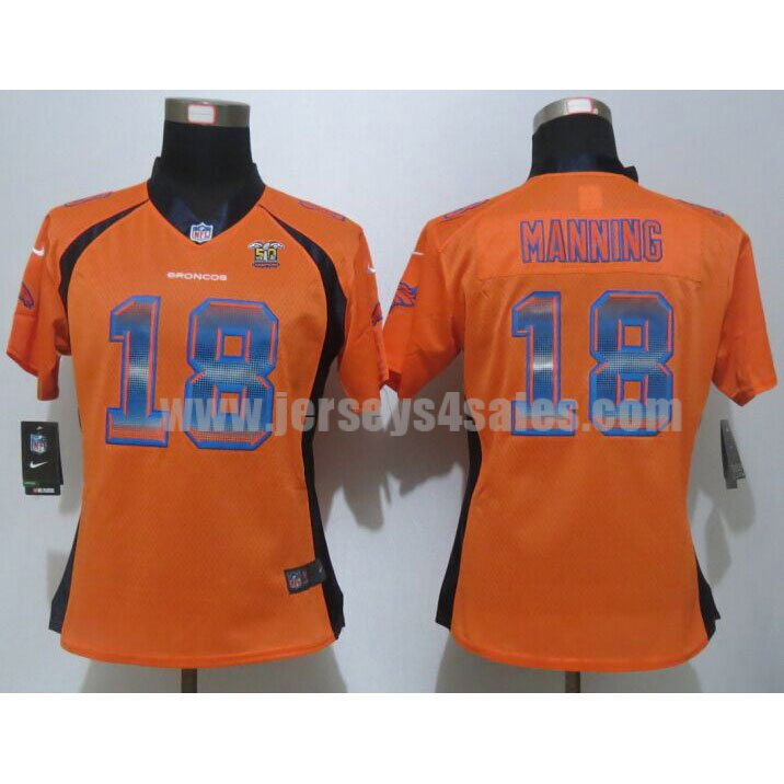 Women's Denver Broncos #18 Peyton Manning Super Bowl 50 Champions Orange Team Color Stitched Strobe Nike NFL Elite Jersey
