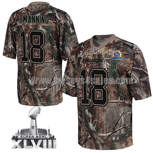 Nike Broncos #18 Peyton Manning Camo With Hall of Fame 50th Patch Super Bowl XLVIII Men's Stitched NFL Realtree Elite Jersey