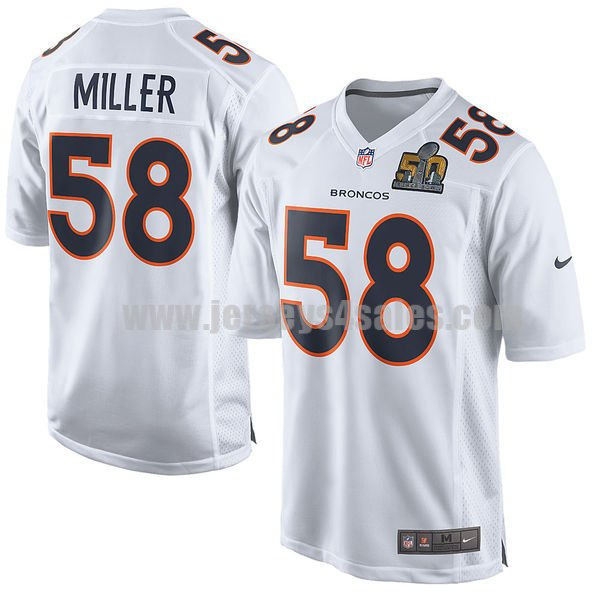 Men's Denver Broncos #58 Von Miller White Nike NFL Super Bowl 50 Bound Game Event Jersey