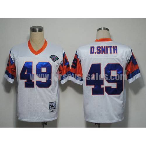 Mitchel and Ness Broncos #49 Dennis Smith White With 75 Anniversary Patch Stitched Throwback NFL Jersey