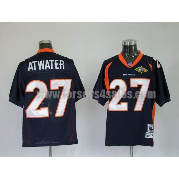 Mitchel & Ness Broncos #27 Steve Atwater Blue With 2010 Super Bowl Patch Stitched Throwback NFL Jersey