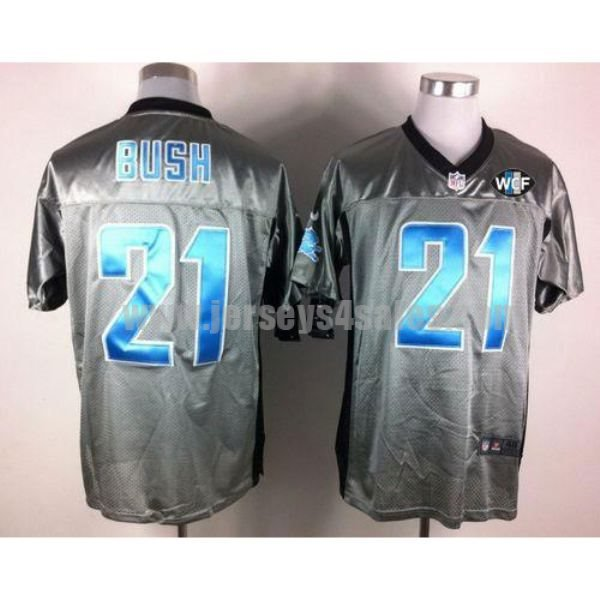 Nike Lions #21 Reggie Bush Grey Shadow With WCF Patch Men's Stitched NFL Elite Jersey