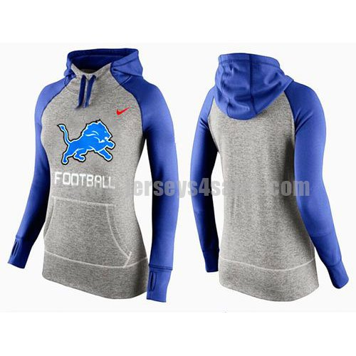 Women's Detroit Lions Grey/Royal Blue All Time Performance NFL Hoodie