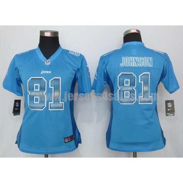 Women's Detroit Lions #81 Calvin Johnson Blue Team Color Stitched Strobe Nike NFL Elite Jersey
