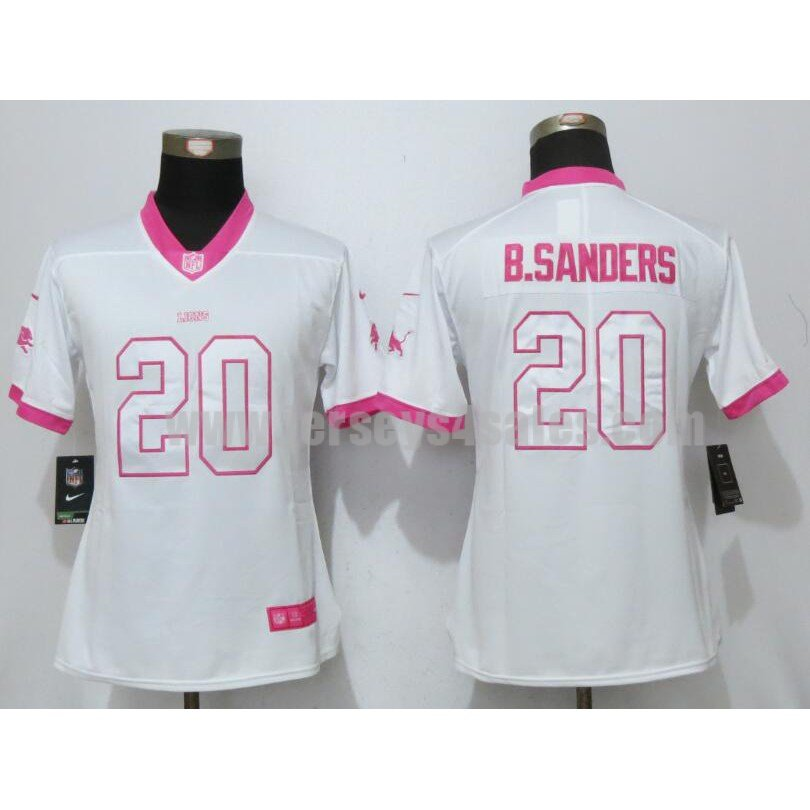 Women's Detroit Lions #20 Barry Sanders White Stitched Nike NFL Color Rush Legend Elite Jersey