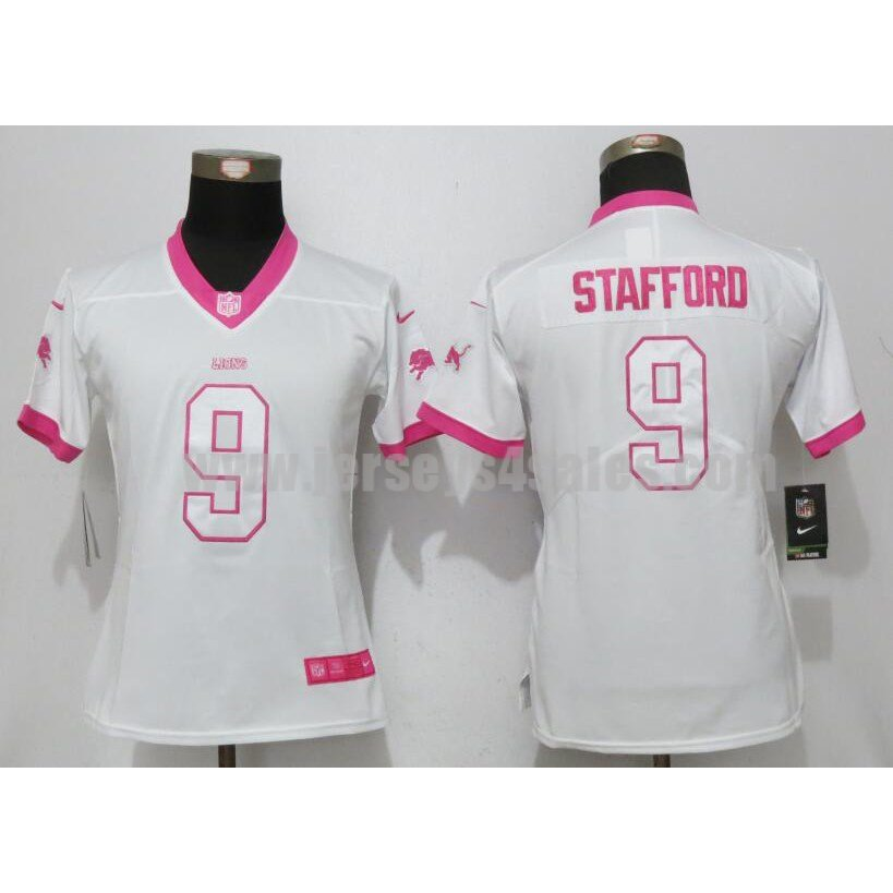 Women's Detroit Lions #9 Matthew Stafford White Stitched Nike NFL Color Rush Legend Elite Jersey