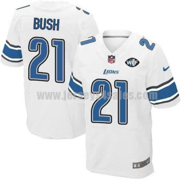 Nike Lions #21 Reggie Bush White With WCF Patch Men's Stitched NFL Elite Jersey