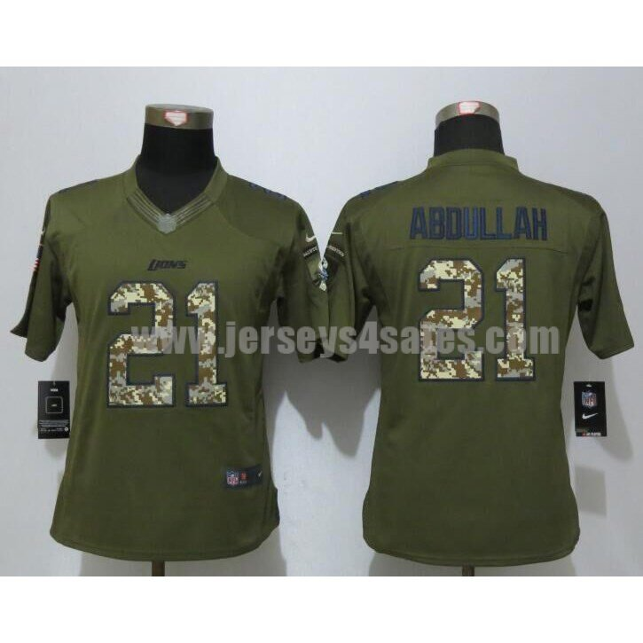 Women's Detroit Lions #21 Ameer Abdullah Green Stitched Nike NFL Salute To Service Limited Jersey