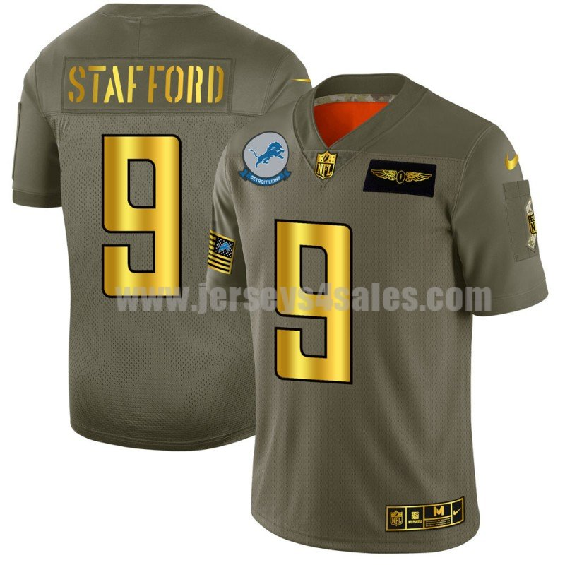 Men's Detroit Lions #9 Matthew Stafford Nike Olive/Gold 2019 Salute to Service Limited Jersey
