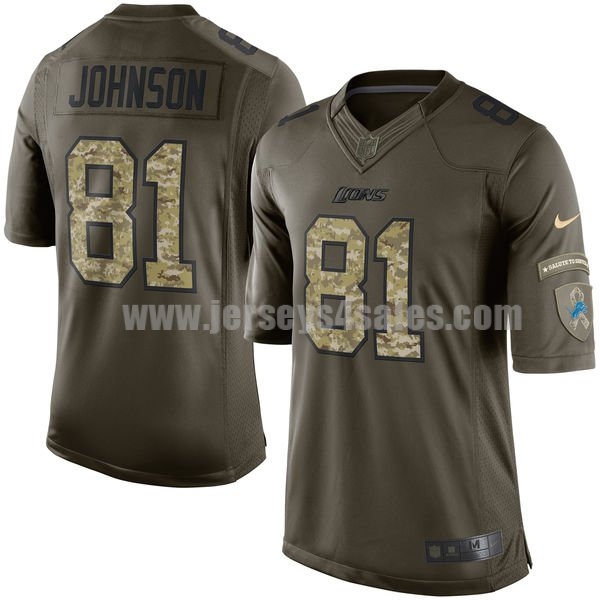 Men's Detroit Lions #81 Calvin Johnson Green Stitched Nike NFL Salute To Service Limited Jersey