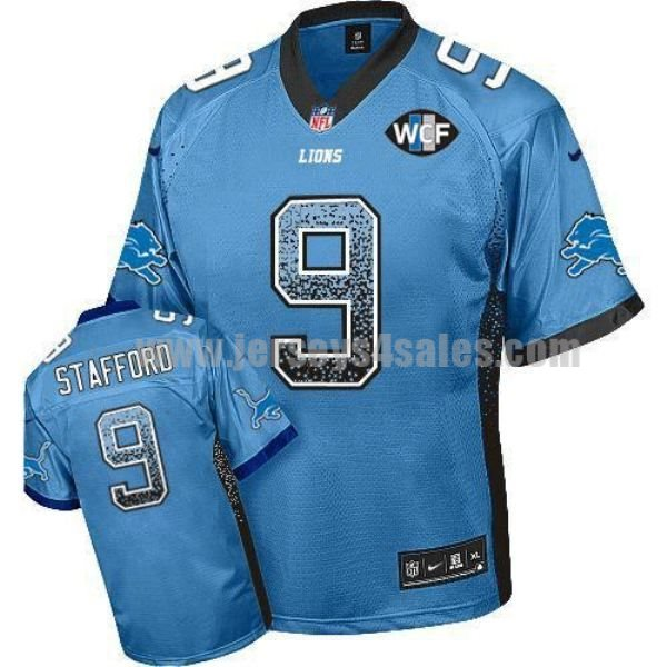 Nike Lions #9 Matthew Stafford Blue Team Color With WCF Patch Men's Stitched NFL Elite Drift Fashion Jersey