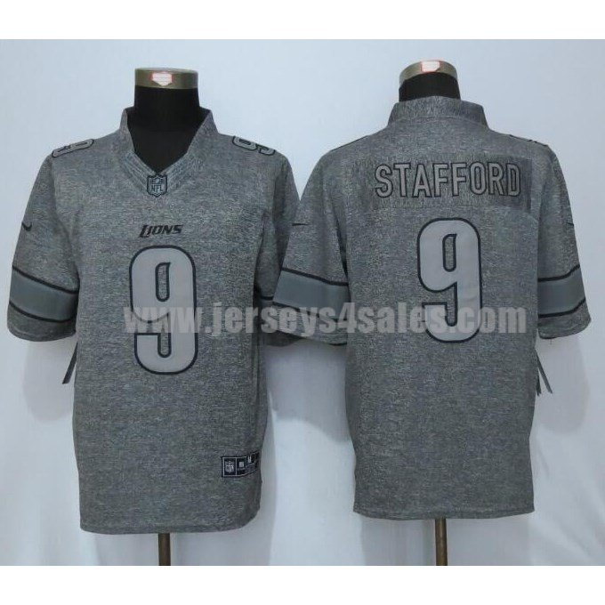 Men's Detroit Lions #9 Matthew Stafford Grey Stitched Nike NFL Gridiron Gray Limited Jersey