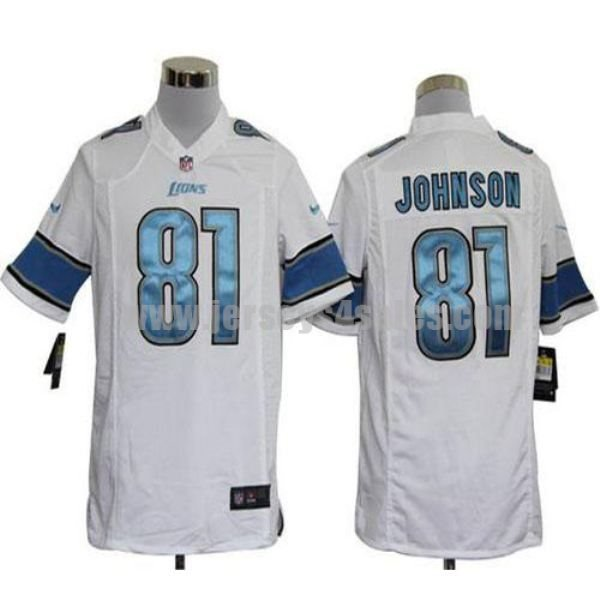 Nike Lions #81 Calvin Johnson White Men's Stitched NFL Game Jersey