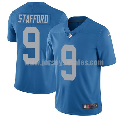 Men's Detroit Lions #9 Matthew Stafford Blue Nike NFL Throwback Limited Jersey