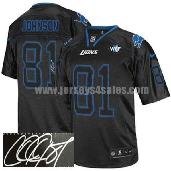 Nike Lions #81 Calvin Johnson Lights Out Black With WCF Patch Men's Stitched NFL Elite Autographed Jersey