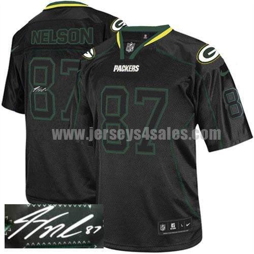 Nike Packers #87 Jordy Nelson Lights Out Black Men's Stitched NFL Elite Autographed Jersey