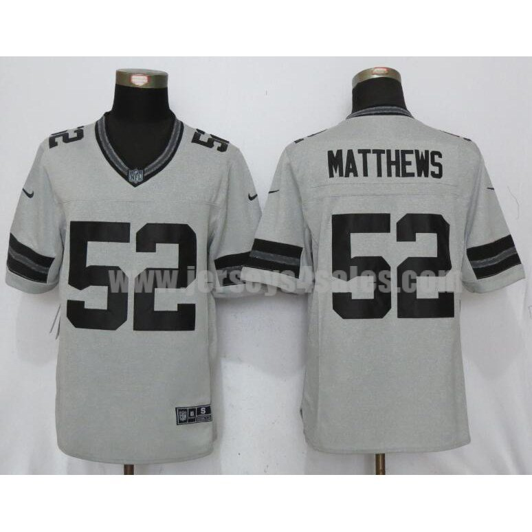 Men's Green Bay Packers #52 Clay Matthews Grey Stitched Nike NFL Gridiron Gray II Limited Jersey