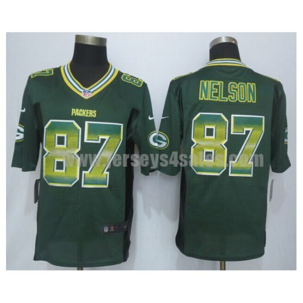 Men's Green Bay Packers #87 Jordy Nelson Green Team Color Stitched Strobe Nike NFL Limited Jersey