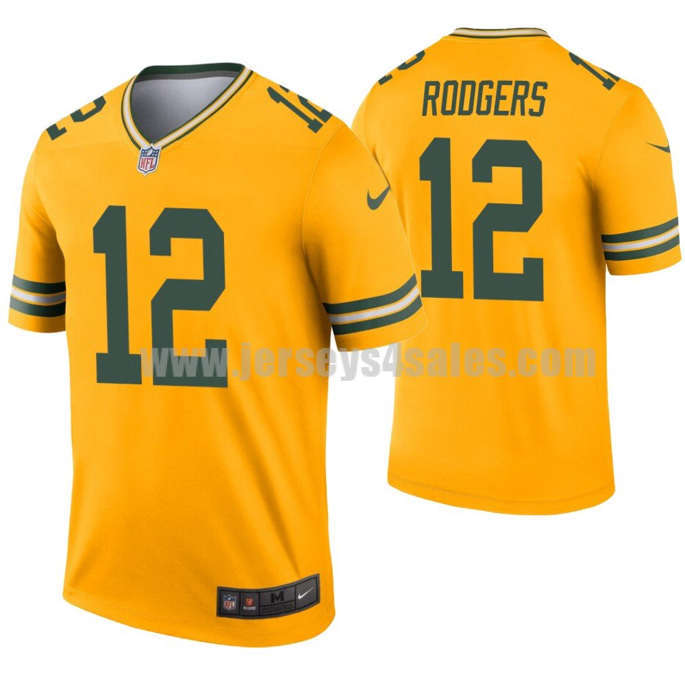 Men's Green Bay Packers #12 Aaron Rodgers Nike Gold Inverted Legend Jersey