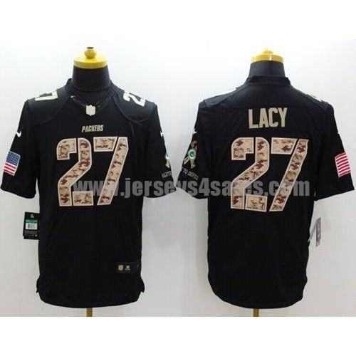 Nike Packers #27 Eddie Lacy Black Men's Stitched NFL Limited Salute to Service Jersey