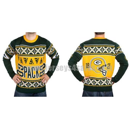Men's Green Bay Packers Klew Green Slogan Crew NFL Knit Ugly Sweater