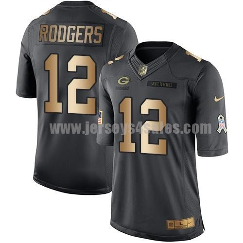 Men's Green Bay Packers #12 Aaron Rodgers Anthracite Stitched Nike NFL Gold Salute To Service Limited Jersey