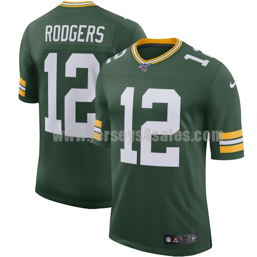 Men's Green Bay Packers #12 Aaron Rodgers Nike Green NFL 100 Vapor Limited Jersey