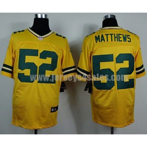 Nike Packers #52 Clay Matthews Yellow Alternate Men's Stitched NFL Elite Jersey