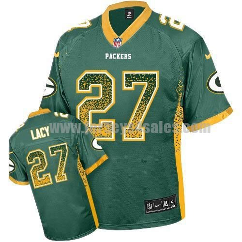 Nike Packers #27 Eddie Lacy Green Team Color Men's Stitched NFL Elite Drift Fashion Jersey