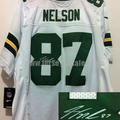 Nike Packers #87 Jordy Nelson White Men's Stitched NFL Elite Autographed Jersey