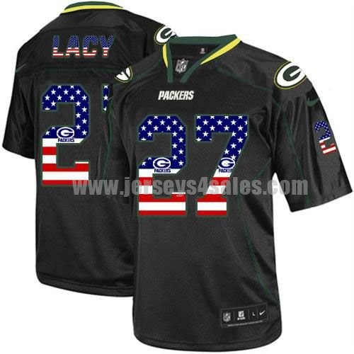Nike Packers #27 Eddie Lacy Black Men's Stitched NFL Elite USA Flag Fashion Jersey