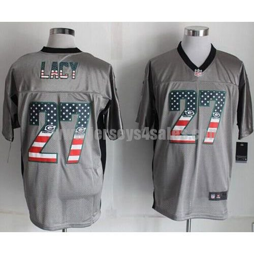 Nike Packers #27 Eddie Lacy Grey Men's Stitched NFL Elite USA Flag Fashion Jersey