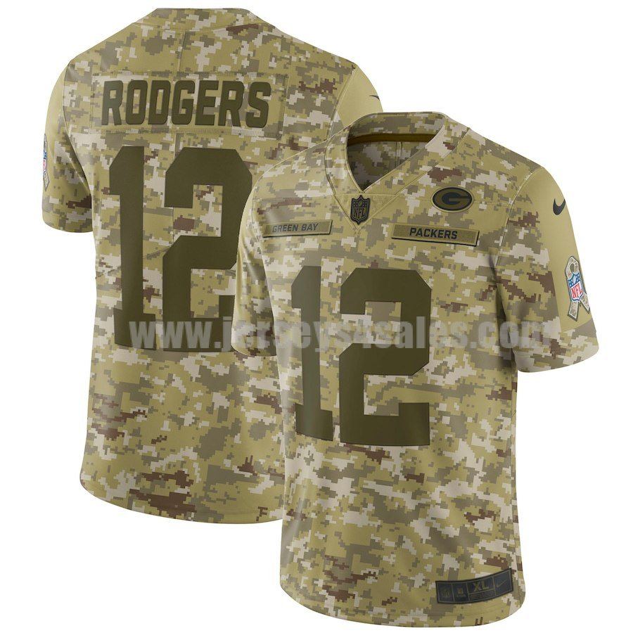 Men's Green Bay Packers #12 Aaron Rodgers Nike Camo Salute To Service Limited Jersey
